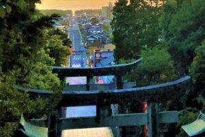宮地嶽神社からの夕陽