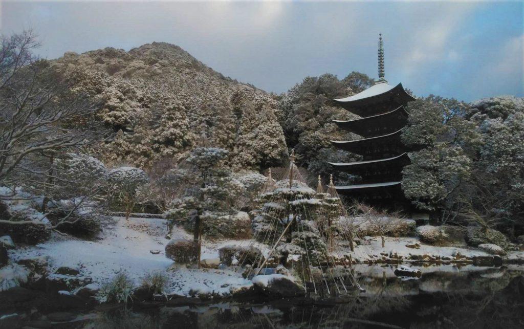 瑠璃光寺五重塔冬景色